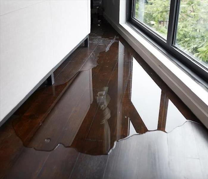water puddle between window and cabinet