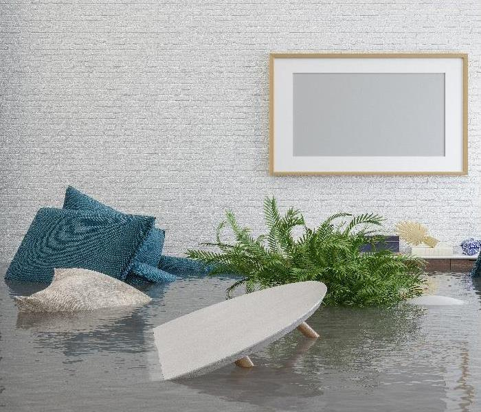 Flooding Room With Blank Frame Hanging On The Wall